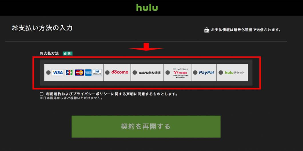 お支払い方法を選択して下さい。